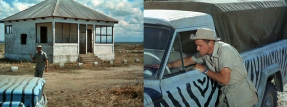 "Left:  A shot of Thompson in ""House of Lions"" filmed on-location walking from a house to his truck Right:  A close-up at the truck filmed at Africa USA cleverly edited into the same sequence"