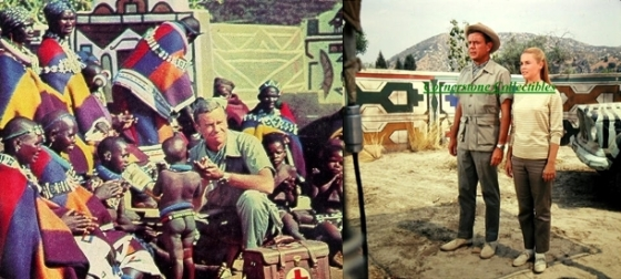 "Left:  A picture taken on-location in Africa with motifs on the village wall at the back Right:  A picture taken at Africa USA during ""The Trial"" with the replicated village wall in the background"