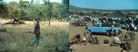 "Left:  A shot from ""Shoot to Kill"" taken on-location of Thompson in the real African bush Right:  A shot taken of Thompson arriving at an African village"