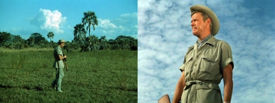 "Left:  A shot of Thompson in ""Cheetah at Large"" filmed on-location on the savannah Right:  A close-up taken back at Africa USA cleverly edited into the same sequence"