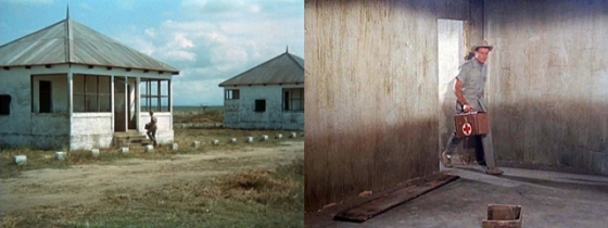 "Left:  Thompson on-location entering the house with his medical kit in ""House of Lions"" Right:  An internal shot filmed at Africa USA cleverly edited to show him entering the house"