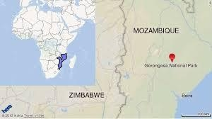 A map showing the location of the Gorongoza National Park